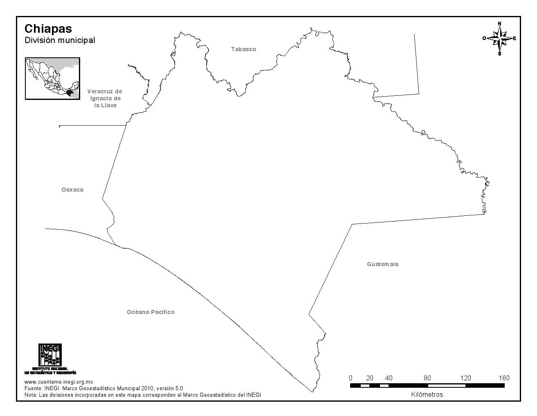 Mapa mudo de Chiapas. INEGI de México