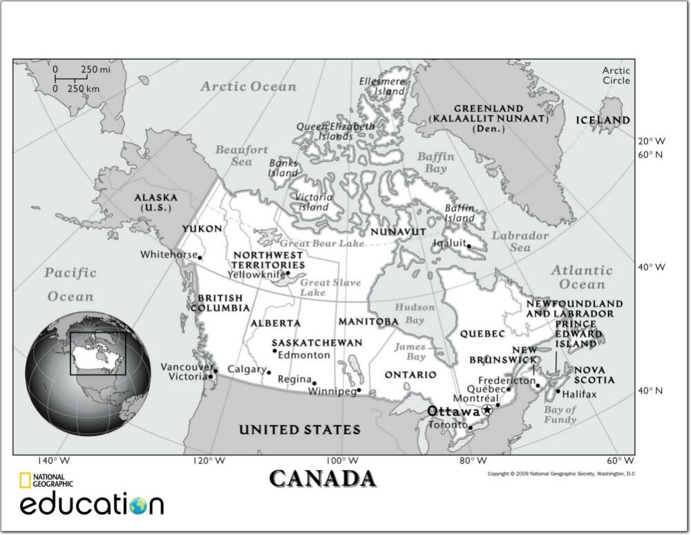 Mapa de ciudades y capitales de provincias y terrotorios de Canadá. National Geographic