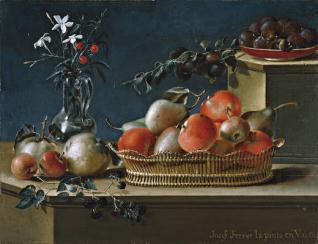 Bodegón de frutas y florero de cristal