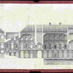 Sección longitudinal por la escalera principal y la capilla del proyecto para el Palacio Real nuevo de Madrid