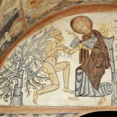 Creación de Adán. Pintura mural de la Iglesia de la Vera Cruz de Maderuelo.