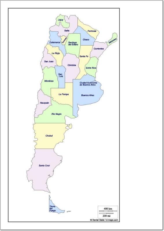 Mapa de provincias de Argentina. d-maps