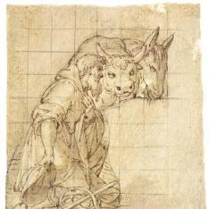 Pastor arrodillado con un buey y una mula