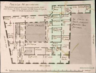 Planta del palacio que fue de la duquesa viuda de Arcos en la calle de Leganitos]h[Material gráfico