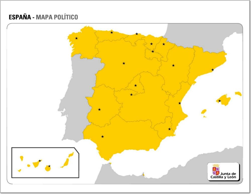 Mapa Politico Mudo De Espana Mapa De Comunidades Autonomas Y