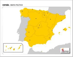 Mapa de comunidades autónomas y capitales de España. JCyL