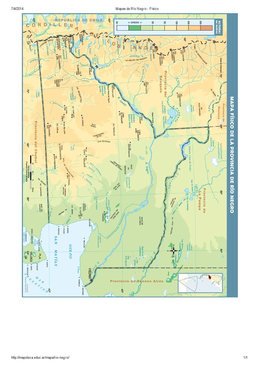 Mapa de ríos de Río Negro. Mapoteca de Educ.ar