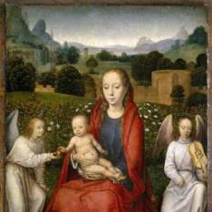 La Virgen y el Niño entre dos ángeles
