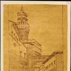 Vista de una calle de Florencia a espaldas de la Señoría