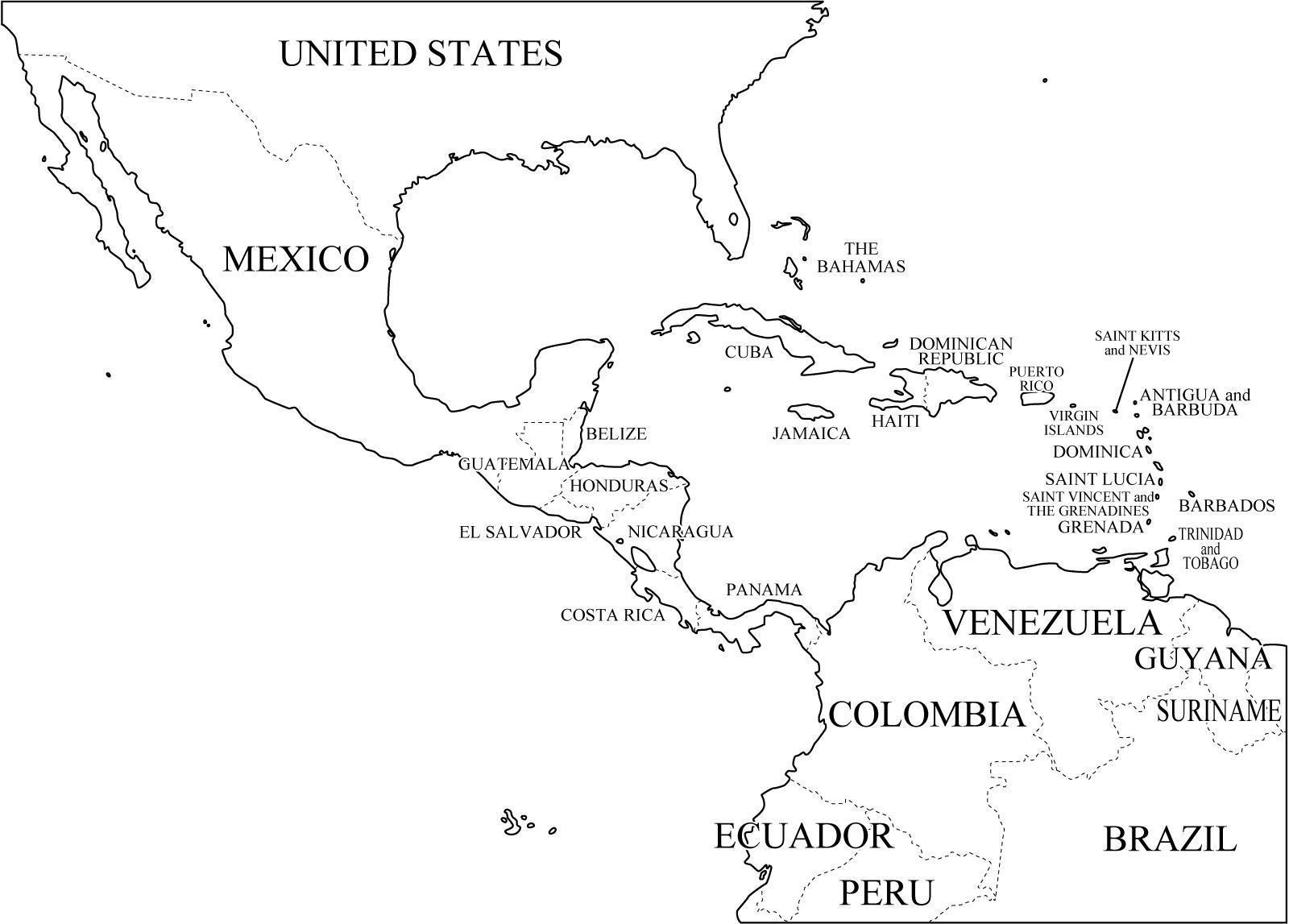 Mapa de países de América Central. Freemap