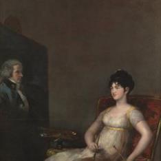 María Tomasa de Palafox y Portocarrero, marquesa de Villafranca, pintando a su marido