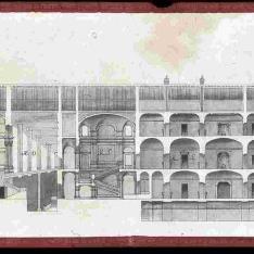 Sección longitudinal por el teatro de corte y la biblioteca del proyecto para el Palacio Real nuevo de Madrid
