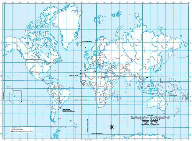 Mapa mudo del Planisferio. IGN de Argentina