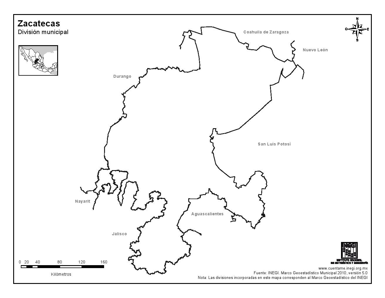 Mapa mudo de Zacatecas. INEGI de México