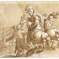 Escena de batalla de caballería