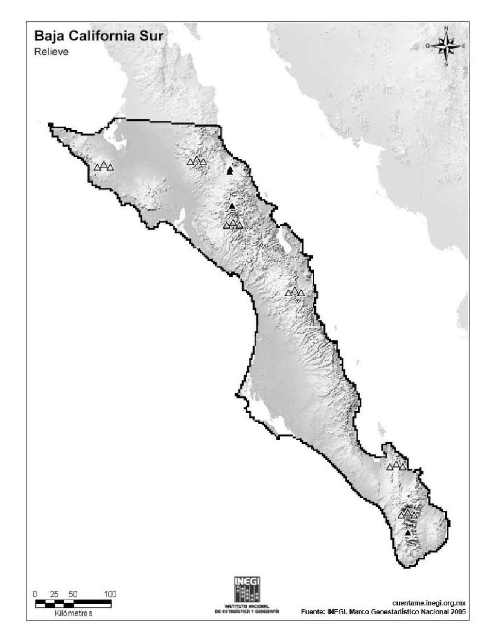Mapa mudo de montañas de Baja California Sur. INEGI de México