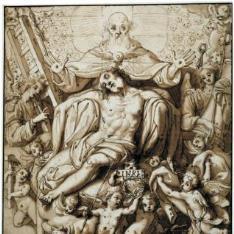 Cristo muerto, rodeado de los instrumentos de la Pasión, con Dios Padre y el Espíritu Santo
