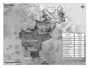 Mapa de montañas de Querétaro. INEGI de México