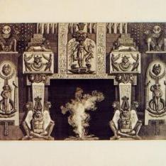 Chimenea egipcia con tres figuras al pie de las jambas