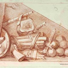 Bajorrelieve con detalle de armas y munición
