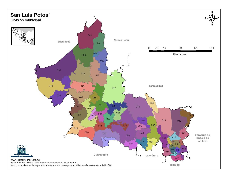 Mapa en color de los municipios de San Luis Potosí. INEGI de México