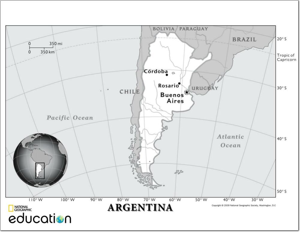 Mapa de ríos de Argentina. National Geographic
