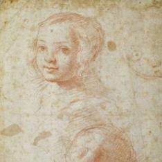 Dos estudios de la cabeza de una niña y caricatura de un rostro infantil