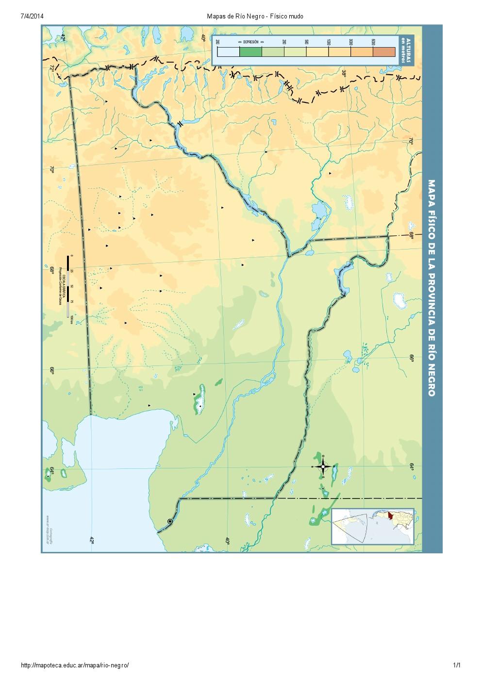 Mapa mudo de ríos de Río Negro. Mapoteca de Educ.ar