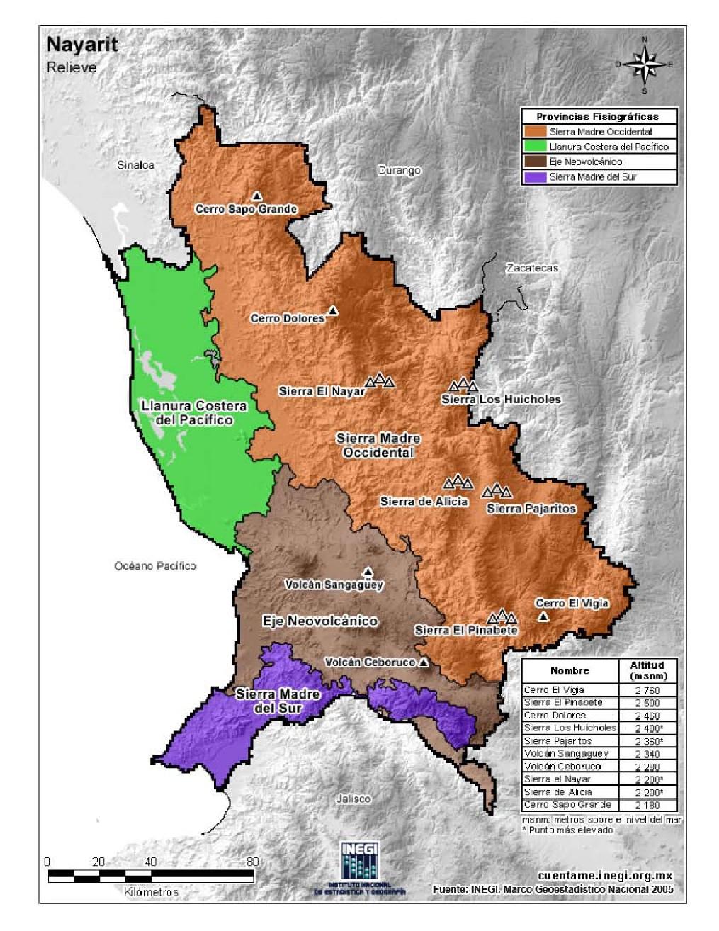 Mapa en color de montañas de Nayarit. INEGI de México