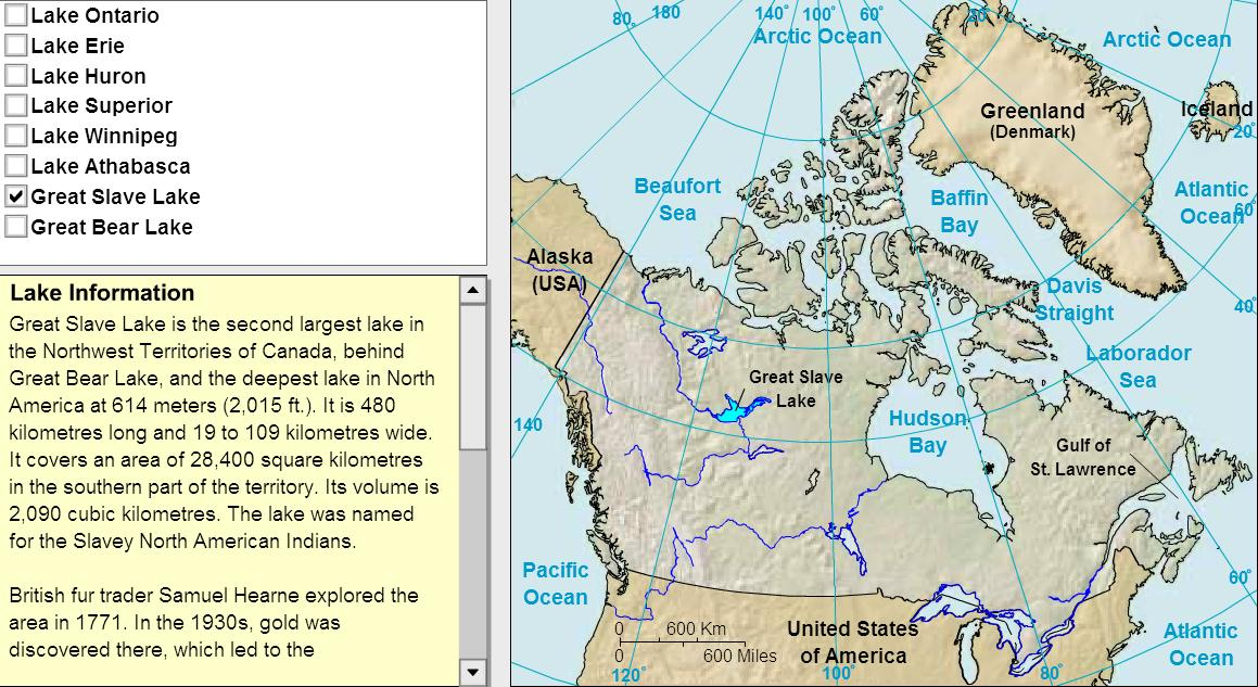 Lakes of Canada. Tutorial. Sheppard Software