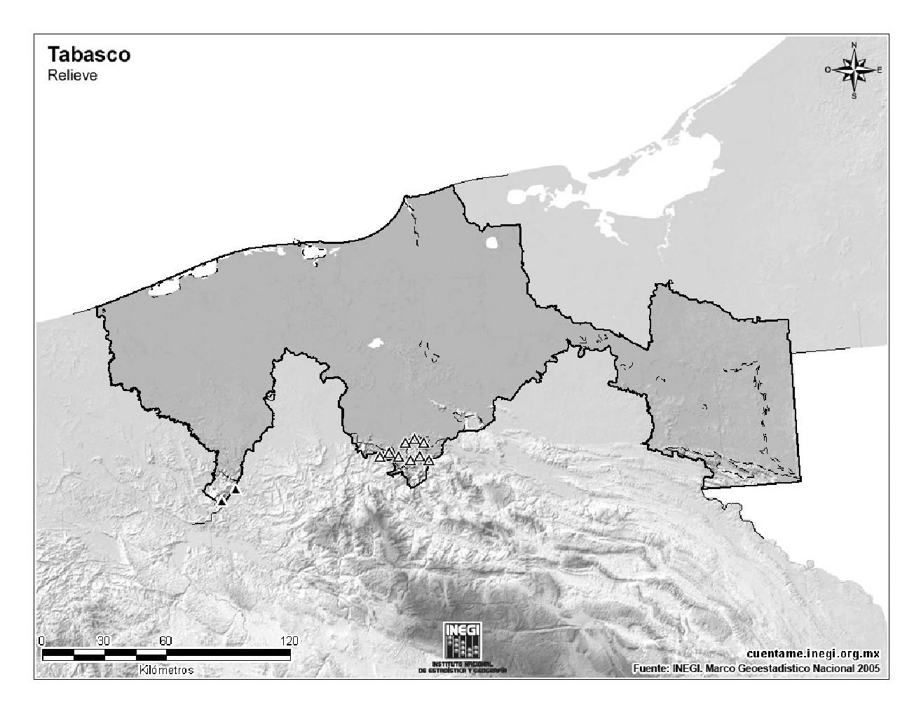 Mapa mudo de montañas de Tabasco. INEGI de México