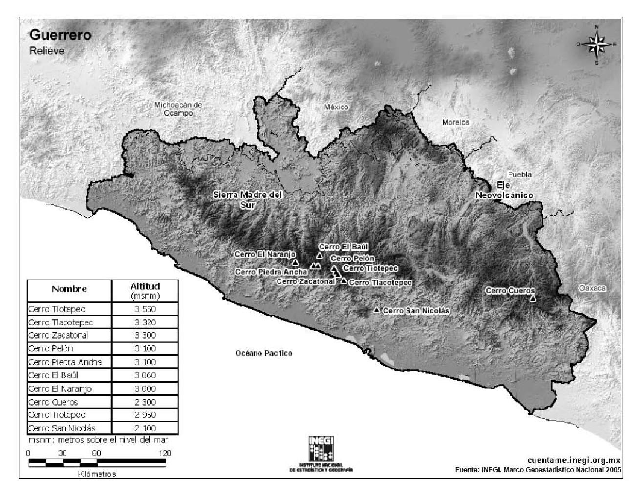 Mapa de montañas de Guerrero. INEGI de México