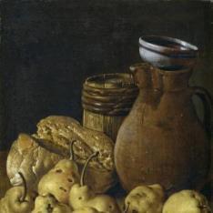 Bodegón: pan, peras, queso y recipientes