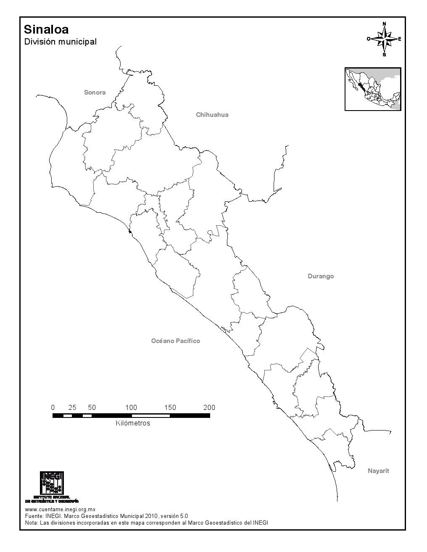 Mapa mudo de municipios de Sinaloa. INEGI de México