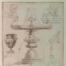 Proyecto para la fuente de los delfines en Villa Pamphili, Roma, y otros apuntes romanos