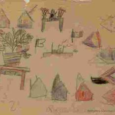 Casas, flores y barcos