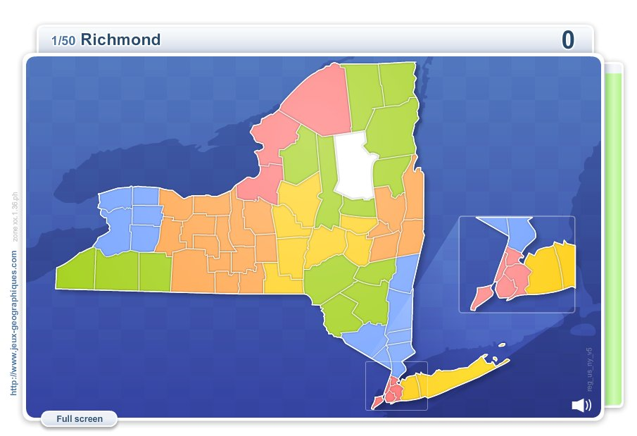 Counties of New York . Geography map games