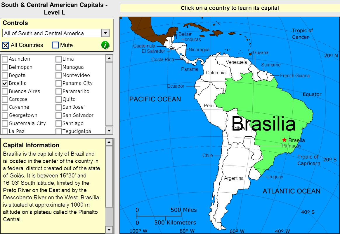 Capitals of South and Central America. Tutorial. Sheppard Software