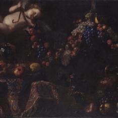 Bodegón con alfombra turca y ángel con guirnalda de frutas