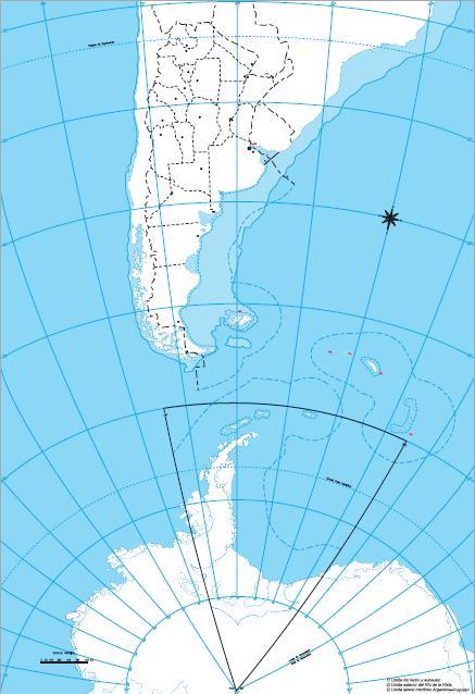 Mapa mudo de Argentina Bicontinental. IGN de Argentina