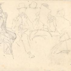 Caballeros y soldados en un café