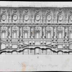 Sección longitudinal de la escalera del Palacio Real de Madrid