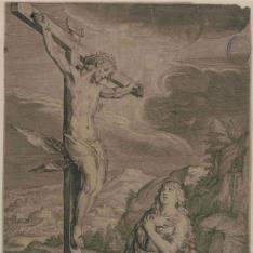 María Magdalena arrodillada frente a la cruz