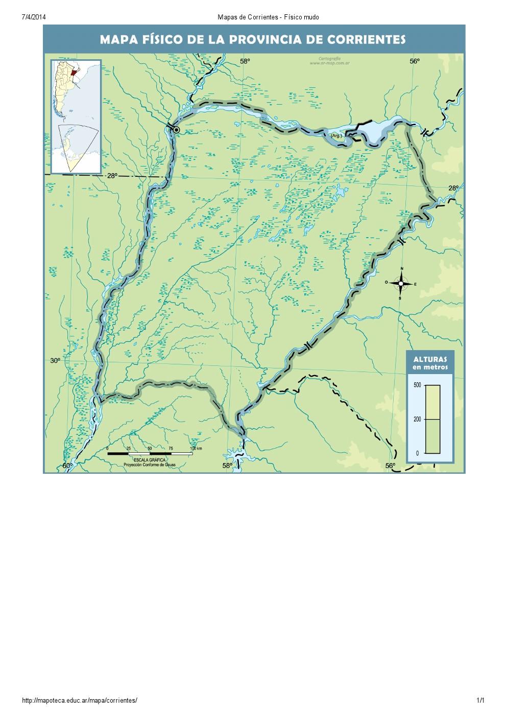 Mapa mudo de ríos de Corrientes. Mapoteca de Educ.ar