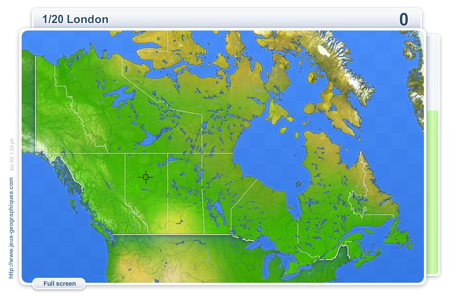 Cities of Canada . Geography map games