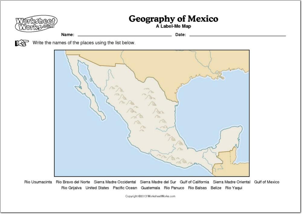 Mapa mudo de ríos y montañas de México. WorksheetWorks