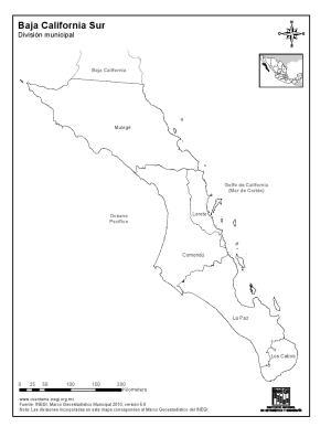 Mapa de municipios de Baja California Sur. INEGI de México