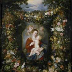 La Virgen y el Niño en un cuadro rodeado de flores y frutas