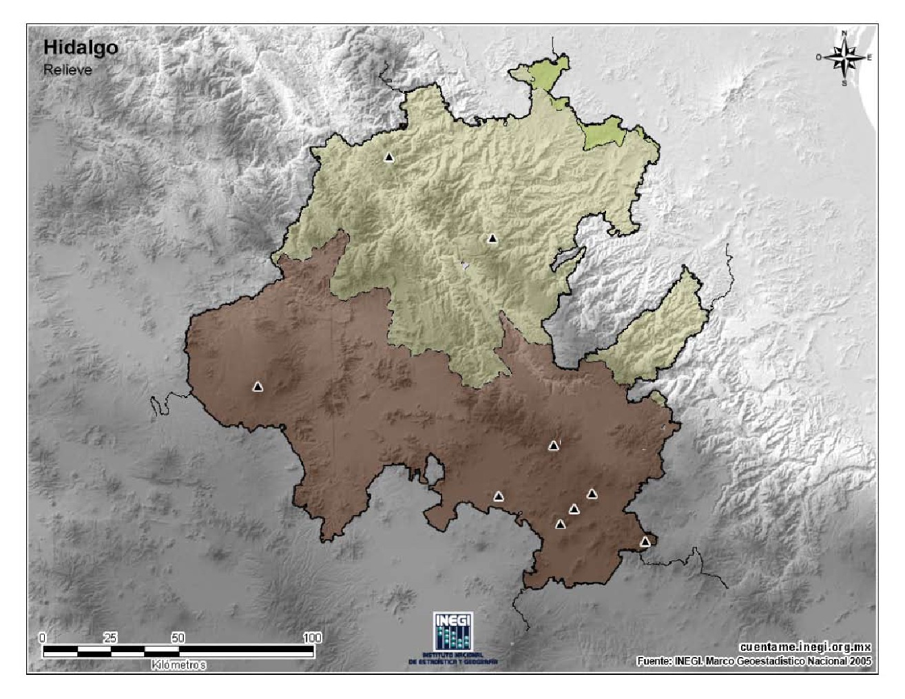 Mapa mudo de montañas de Hidalgo. INEGI de México