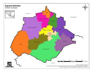 Mapa en color de municipios de Aguascalientes. INEGI de México